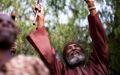 Ben Ammi Ben-Israel, the leader of the African Hebrew Israelites of Jerusalem who died on December 27, 2014, celebrating the festival of Shavuot in 2011. (Photo credit: Uriel Sinai/Getty Images/JTA)