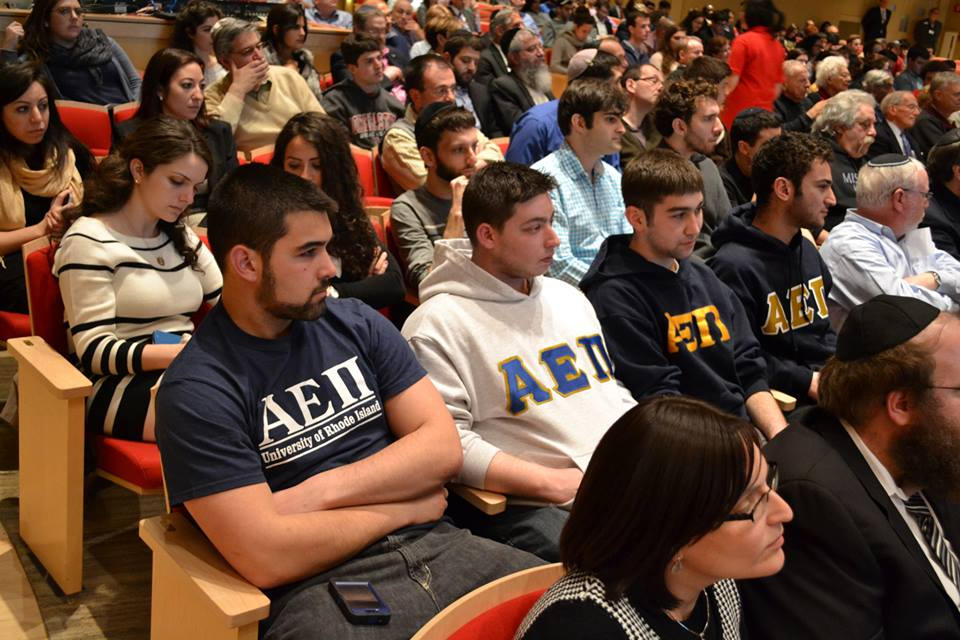 Last April, at least 90 Boston-area AEPi brothers came to an event at Northeastern University that featured six members of Israel's Knesset. The brothers were called into action when it became known that Students for Justice in Palestine planned to stage an anti-Israel demonstration before and during the event (photo courtesy: Northeastern Hillel)