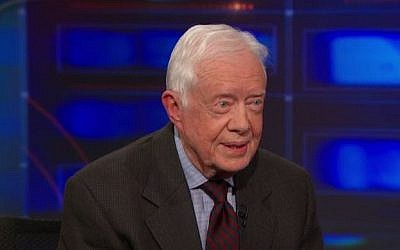 Former US president Jimmy Carter on Comedy Central's The Daily Show, January 12, 2015. (screen capture: YouTube/Comedy Central)