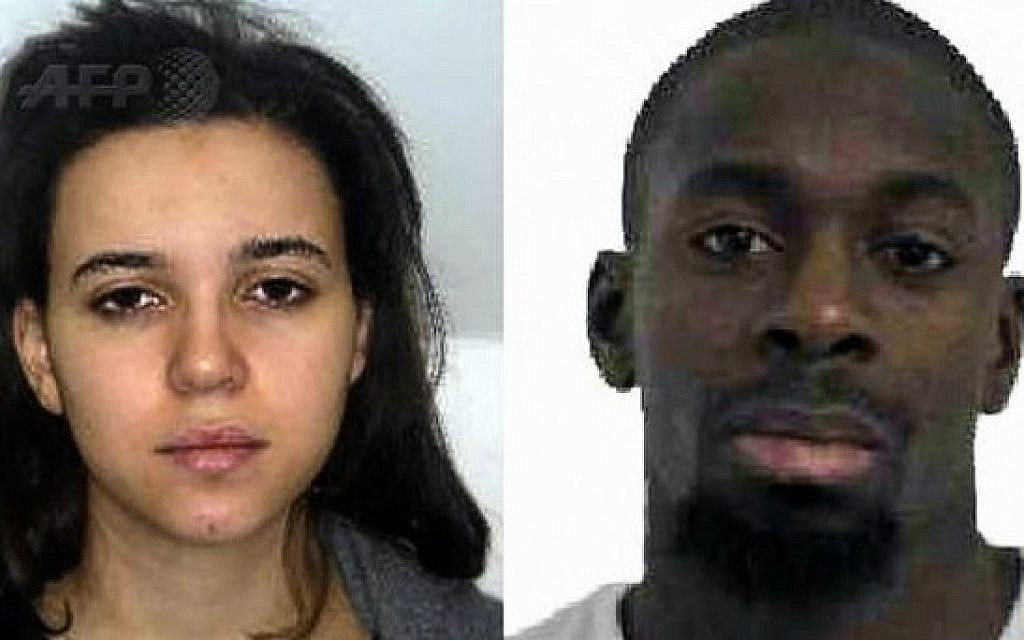 Hayat Boumeddiene, left, and Amedy Coulibaly, right, who are suspected of killing a policewoman in Montrouge on January 8, 2015. (Photo credit: AFP/FRENCH POLICE)