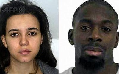 This combination of images released on January 9, 2015 by the French police shows Hayat Boumeddiene, left, and Amedy Coulibaly, right, suspected of killing a policewoman in Montrouge on January 8, 2015. Coulibaly was killed on January after police stormed a kosher market where he and Boumeddiene had taken hostages. He is linked to two brothers who massacred 12 people at satirical magazine Charlie Hebdo on Wednesday. (Photo credit: AFP/FRENCH POLICE)