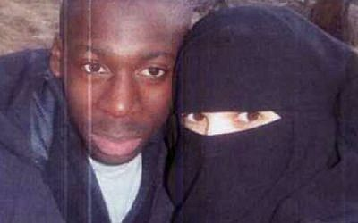 An undated photo of Amedy Coulibaly, jihadist killer of four Jews in a Paris kosher supermarket and of a French policewoman, and his wife Hayat Boumedienne who is sought by police. (Photo credit: Screenshot/Itele)