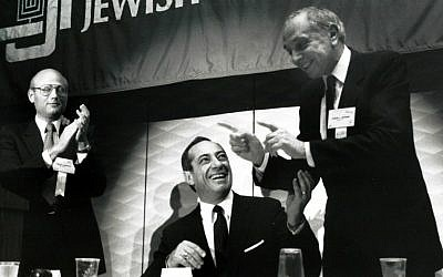 New York Governor Mario Cuomo, seated, was a featured speaker at the 57th General Assembly of the Council of Jewish Federations held in New Orleans, November, 1988. (photo credit: JTA/Robert A. Cumins)