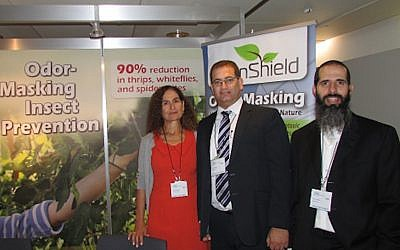 (L to R) Nitza Kardish, CEO, Trendlines Agtech, joins Guy Malchi, Strategy & Business Development, and Yaniv Kitron, CEO, in the EdenShield booth at the ABIM agricultural technology show in Basel, Switzerland last October (Photo credit: Courtesy)