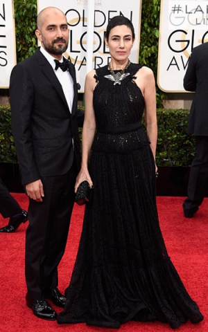 Brother-and-sister director and actor, Shlomi and Ronit Elkabetz at the Golden Globes (Courtesy Lanvin)