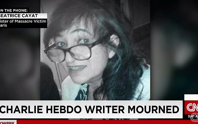 Elsa Cayat, a psychiatrist and columnist at the Charlie Hebdo satirical magazine was killed in the shooting attack on January 7, 2015 (photo credit: YouTube screenshot)