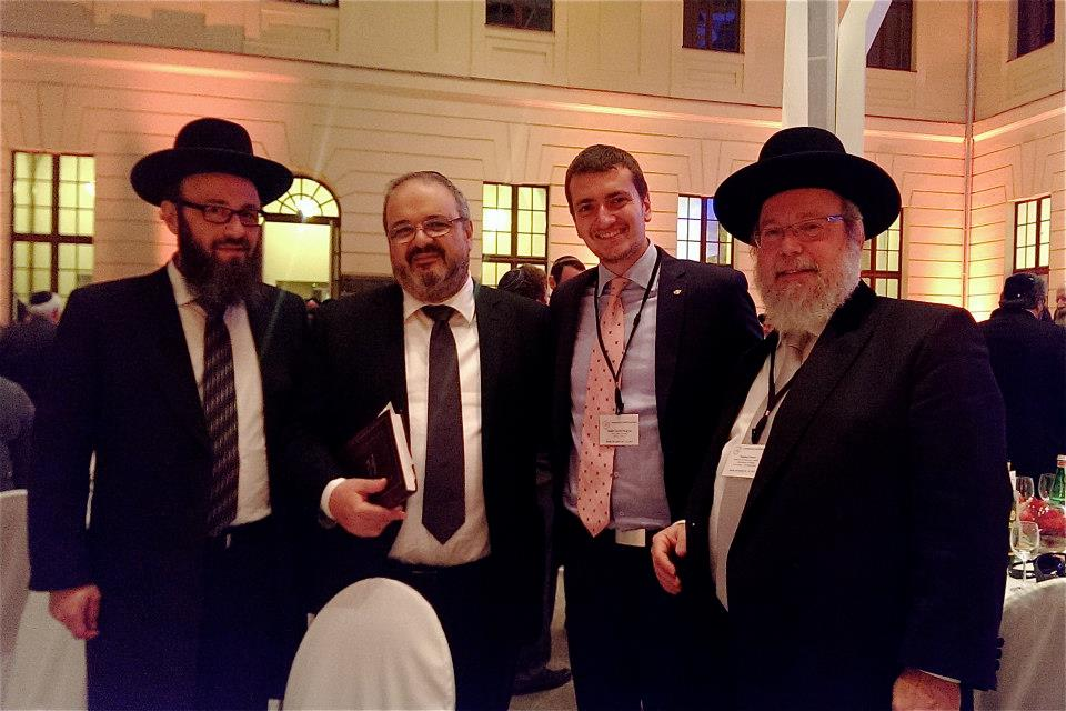 Greek Chief Rabbi Gabriel Negrin (center right) at the 2013 Conference of European Rabbis in Berlin. (courtesy)