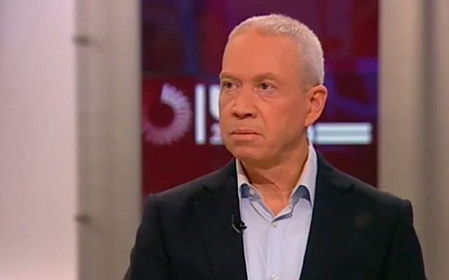 Yoav Gallant speaks to Channel 2, January 18, 2015. (screen capture)