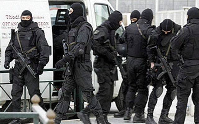 Greek police special forces, illustrative photo (Photo credit: YouTube screen capture)
