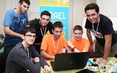 Pictured: Hacker Oded Anter, (standing on the right ), with team members (sittiing L to R) Or Menachemi, Itamar Kordova  and Dor Ben Moshe, with (standing on the left)  Chen Yoskovitz and Amit Tzitat (Photo credit: Courtesy)
