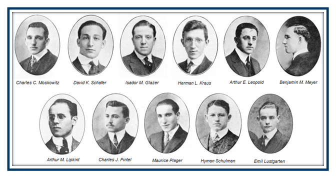 "The so-called ""Immortal Eleven"" of the Jewish fraternity Alpha Epsilon Pi, or AEPi, who founded the fraternity at New York University in 1913, at a time when Jews were barred from Greek organizations (courtesy)"