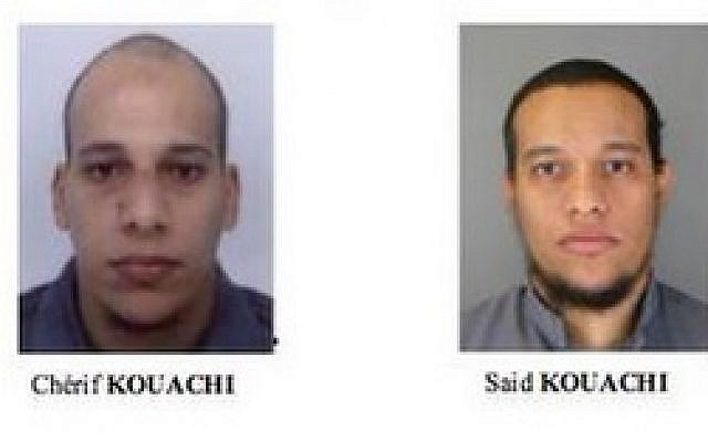 Cherif and Said Kouachi, suspects in the deadly Paris attack on the Charlie Hebdo offices that killed 12 people on Wednesday January 7, 2015. (Screenshot/French police)