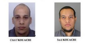 Cherif and Said Kouachi, two of three suspects in the deadly Paris attack on the Charlie Hebdo offices that killed 12 people on Wednesday January 7, 2015. (Screenshot/French police)