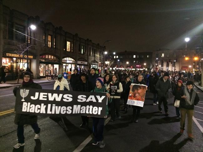 On December 15, 2015, more than 300 Jewish activists in Boston marched for the Black Lives Matter movement, including members of Jewish Voice for Peace (photo credit: Ignacio Laguarda/Wicked Local)