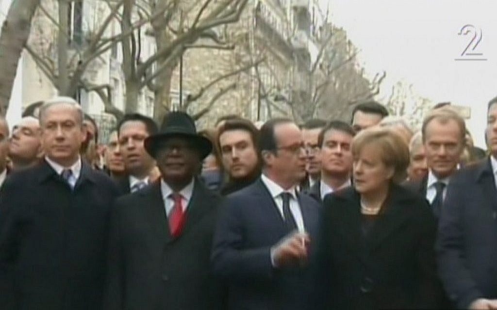 From left, Israeli Prime Minister Benjamin Netanyahu, Mali President Ibrahim Boubacar Keita, French President Francois Hollande and German Chancellor Angela Merkel marching in Paris on January 11, 2015. (Screen capture: Channel 2)