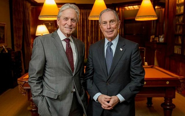 Michael Douglas, left, with Michael Bloomberg, last year's recipient of the Genesis Prize. (Courtesy Genesis Prize)