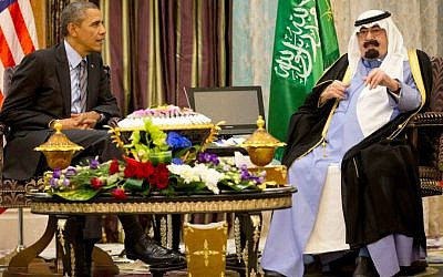 US President Barack Obama meets with Saudi King Abdullah at Rawdat Khuraim, Saudi Arabia on March 28, 2014. (photo credit: AP Photo/Pablo Martinez Monsivais)