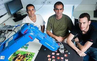Ben Gurion robotics students work on a Helmsley Trust-funded project (Photo credit: Courtesy)