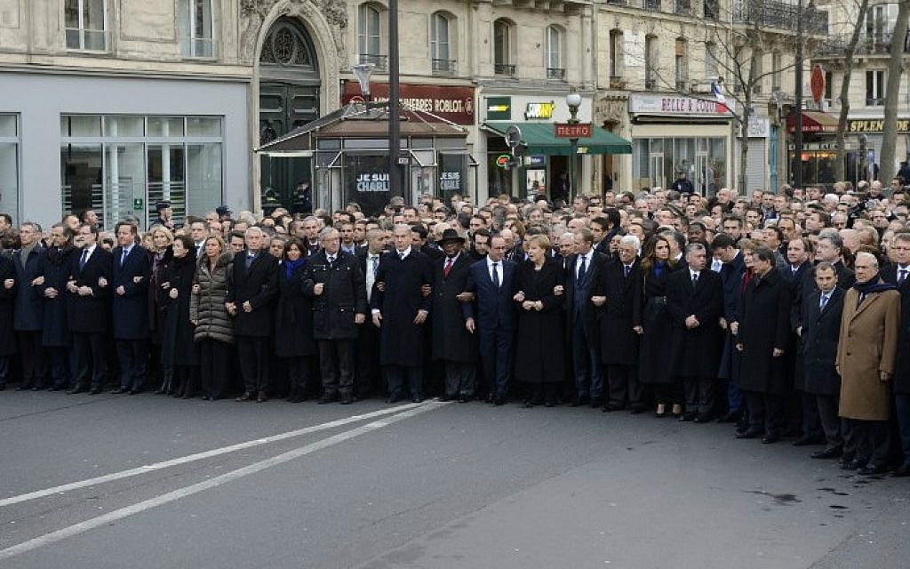 Dozens of heads of states taking part in a unity rally in Paris in tribute to the 17 victims of the three-day killing spree,  January 11, 2015 (photo credit: AFP/ERIC FEFERBERG)