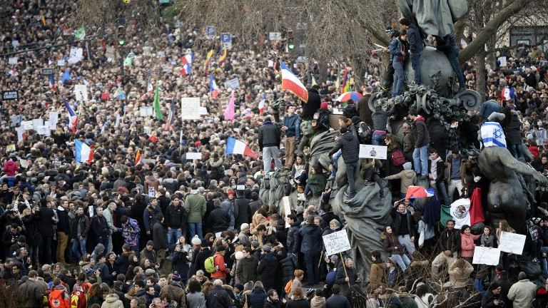 People take part in theunity rally on January 11, 2015 in Paris in tribute to the 17 victims of a three-day killing spree by homegrown Islamists (photo credit: AFP/ MARTIN BUREAU)