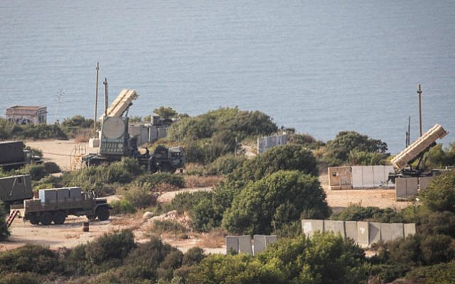 A Patriot battery perched above the Haifa coast in August 2013 (photo credit: Avishag Shaar Yashuv/ Flash 90)