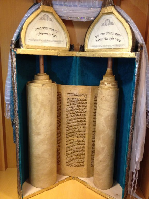 The Foreign Ministry's 200-year-old Torah scroll (Raphael Ahren/TOI)
