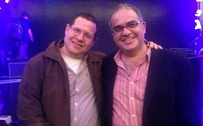 Ruby Namdar, right, with his editor, Haim Weiss, at the Sapir Prize award ceremony, Jan. 26, 2015, in Israel. (photo credit: Carolyn Cohen/JTA)