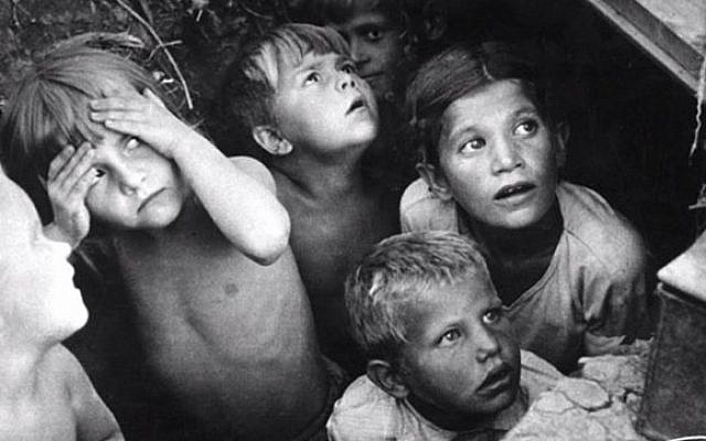 Children in the Salaspils concentration camp in Latvia during WWII (photo credit: YouTube screenshot)