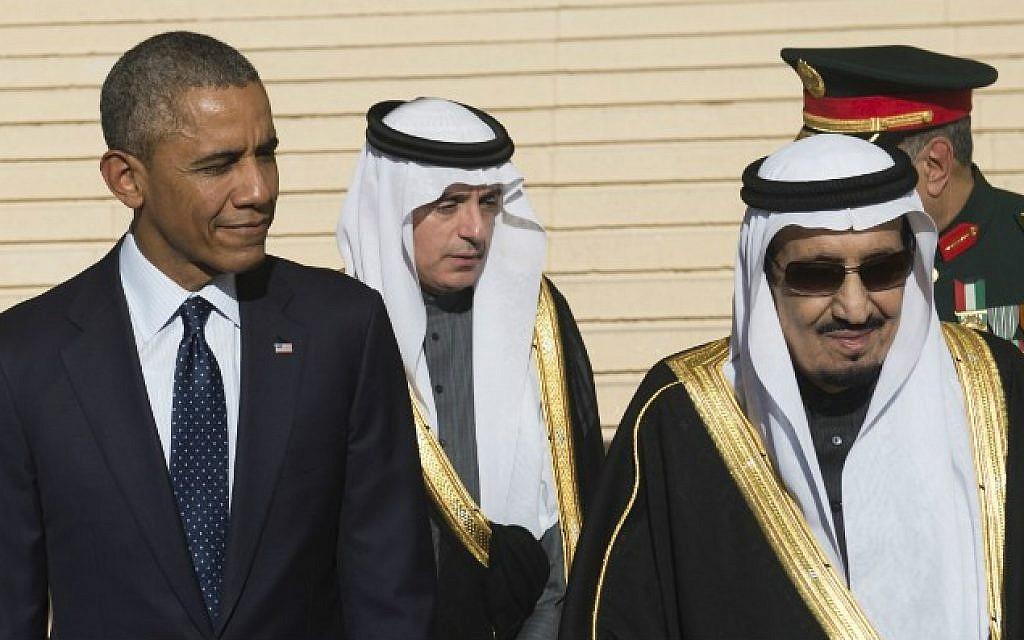 File: US President Barack Obama (left) stands alongside Saudi King Salman (right) at King Khalid International Airport in Riyadh, Saudi Arabia, on January 27, 2015. (AFP/Saul Loeb)