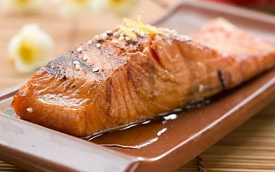 Asian-inspired citrus salmon (Liz Rueven/JTA)