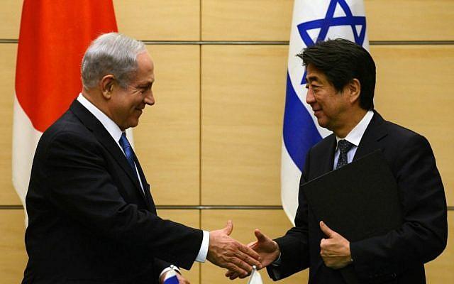 Israeli Prime Minister Benjamin Netanyahu, left, meeting Japanese Prime Minister Shinzo Abe in Tokyo, May 14, 2014. (Kobi Gideon/GPO/via JTA)