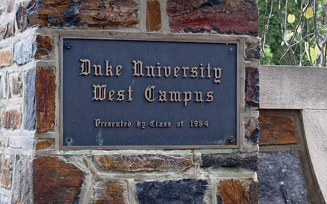 Illustrative image of sign at a Duke University campus. (Photo credit: Shutterstock via JTA)