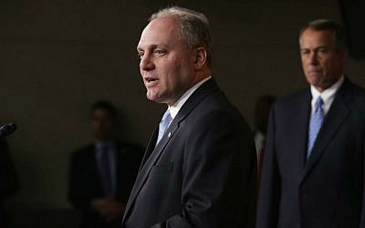 U.S. House Majority Whip Steve Scalise (R-La.) joins House Speaker John Boehner (R-OH) (C) and other members of the newly-elected House Republican leadership team for a news conference at the U.S. Capitol, Nov. 13, 2014 in Washington, DC. (Chip Somodevilla/Getty Images/ via JTA)
