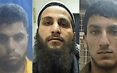 The suspects accused of belonging to an Islamic State terror cell in the West Bank: Ahmmad Shehadah (left), Qusai Meswadeh (center) and Muhammad Zerrue (right). (photo credit: Shin Bet press release)