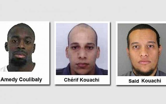 The three French gunmen who carried out a series of deadly attacks in Paris starting on January 7, 2015, killing 12 people at the Charlie Hebdo offices and ending with two separate sieges in and around Paris on January 9 that killed four hostages. (Photo credit: French police handouts)