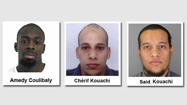 The three French gunmen who carried out a series of deadly attacks in Paris starting on January 7, 2015 with the killing of 12 people at the Charlie Hebdo offices and ending with two separate sieges in and around Paris on January 9 that killed four hostages. Coulibaly was killed after police stormed the kosher market in Paris where he was holed up with 16 hostages on January 9. The Kaouchi brothers were similarly killed in a police shootout at a print shop northeast of Paris where they held one person hostage. (Photo credit: French police handouts)