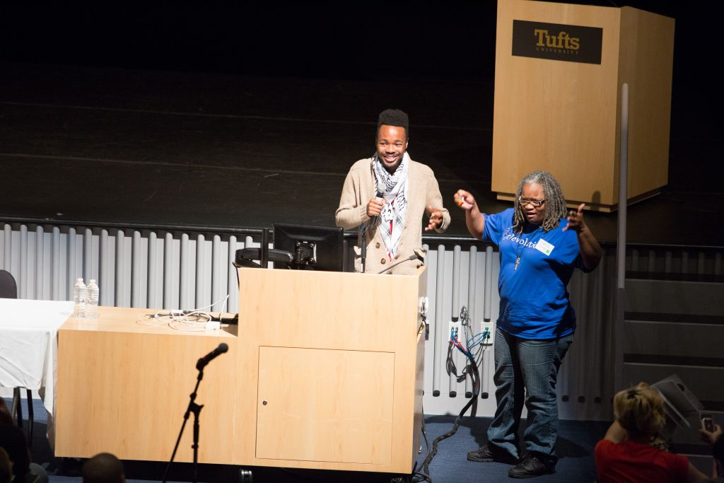During their national conference at Tufts University in October of 2014, leaders with Students for Justice in Palestine drew parallels between racism in the US and Israeli policies toward the Palestinians in the Mideast, including during the gathering's opening remarks, shown here (photo credit: Elan Kawesch/The Times of Israel)