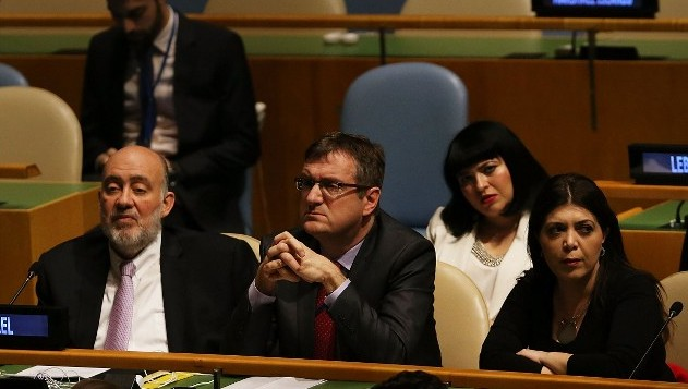 Members of the Israeli United Nations delegation attend a United Nations General Assembly meeting devoted to anti-Semitism on January 22, 2015 in New York City (photo credit: Spencer Platt/Getty Images/AFP)