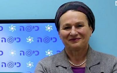 Yehudit Shilat, the third-highest woman on the Jewish Home party's Knesset election slate, spoke vehemently against homosexuality in a radio interview last year. (Photo credit: YouTube screenshot)