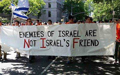 Students from the Rambam Mesivta Jewish day school in Lawrence, NY, march in the 2014 Celebrate Israel Parade, holding a sign stating, Enemies of Israel are Not Israel's Friends,' June 1, 2014. (Rabbi Yotav Eliach/courtesy of Im Tirtzu)