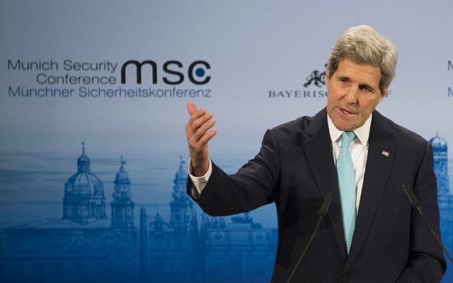 US Secretary of State John Kerry delivers remarks during a panel discussion on the third day of the 51st Munich Security Conference (MSC) in Munich, southern Germany, on February 8, 2015. (photo credit: AFP PHOTO / POOL / JIM WATSON)