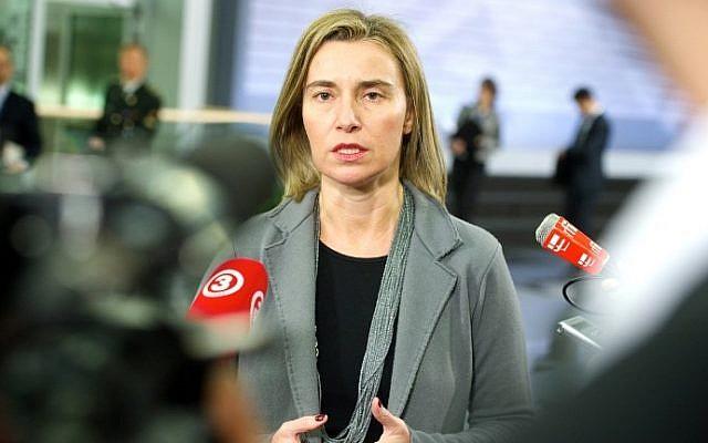 Federica Mogherini speaks with in Riga, Latvia on February 18, 2015. photo credit: AFP/ILMARS ZNOTINS)
