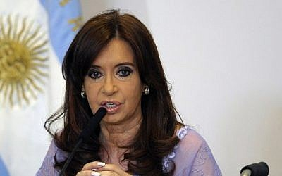 Argentina's then-president Cristina Kirchner in Buenos Aires on January 30, 2015. (AFP Photo/Alejandro Pagni)