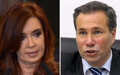File photos of Argentine President Cristina Fernandez de Kirchner (left), Buenos Aires, September 19, 2012, and of Argentina's deceased public prosecutor Alberto Nisman (right), Buenos Aires, May 20, 2009 (photo credit: Juan Mabromata/AFP)