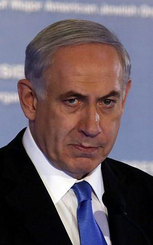 Prime Minister Benjamin Netanyahu in Jerusalem on February 16, 2015 (Photo credit: Gali Tibon/AFP)