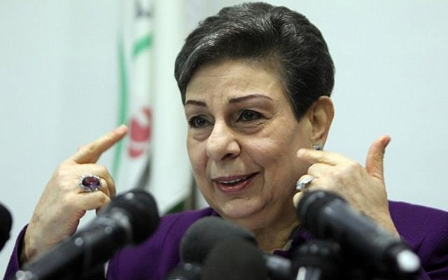 Palestine Liberation Organization executive committee member Hanan Ashrawi speaks during a press conference on February 24, 2015 in the West Bank city of Ramallah. (AFP/Abbas Momani)