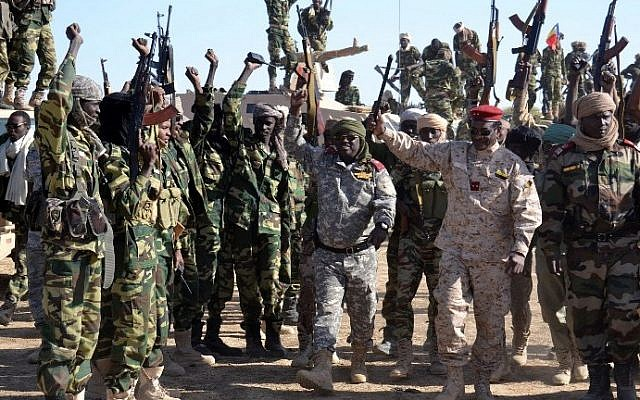 File: Chadian soldiers gather on February 1, 2015 near the Nigerian town of Gamboru, just across the border from Cameroon. (AFP/Marle)