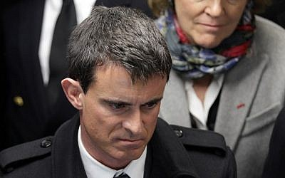 French Prime Minister Manuel Valls, February 13, 2015 (photo credit: AFP/Charly Triballeau)