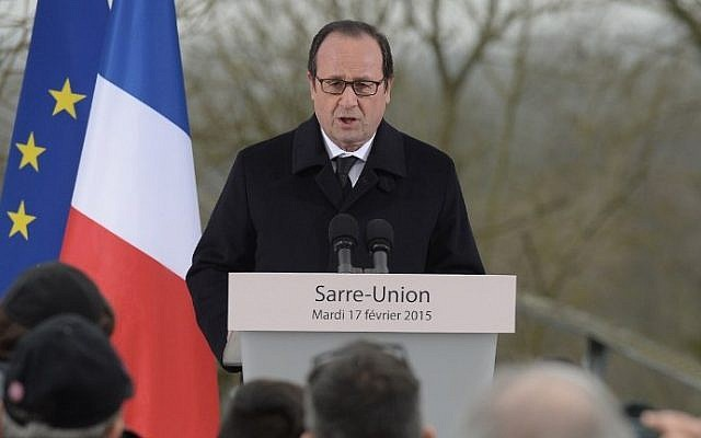 French President Francois Hollande delivers a speech during a ceremony at the Jewish cemetery in Sarre-Union, eastern France, on February 17, 2015. (photo credit: AFP/Patrick Hertzog)