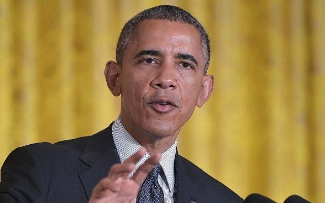 US President Barack Obama  in the White House in Washington, DC, on January 30, 2015 (photo credit: AFP/Mandel Ngan)